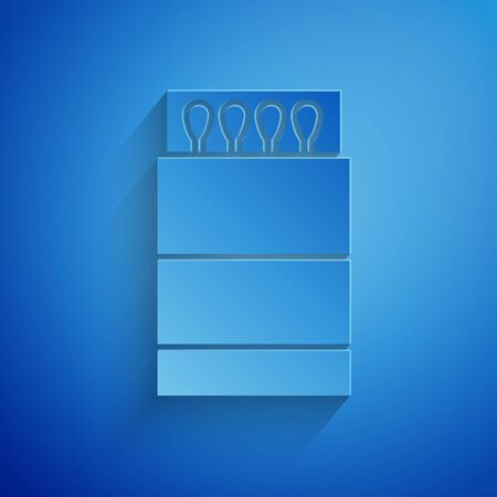 Paper cut Open matchbox and matches icon isolated on blue background. Paper art style. Vector Illustration Illusztráció