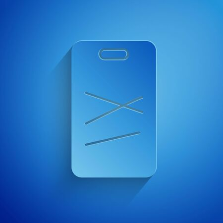 Paper cut Cutting board icon isolated on blue background. Chopping Board symbol. Paper art style. Vector Illustration 向量圖像