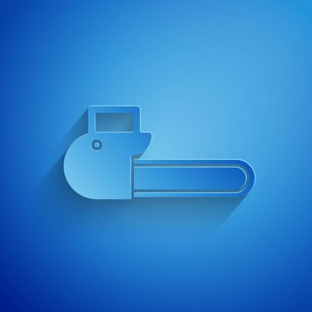 Paper cut Chainsaw icon isolated on blue background. Paper art style. Vector Illustration