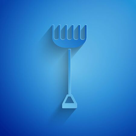 Paper cut Garden rake icon isolated on blue background. Tool for horticulture, agriculture, farming. Ground cultivator. Housekeeping equipment. Paper art style. Vector Illustration