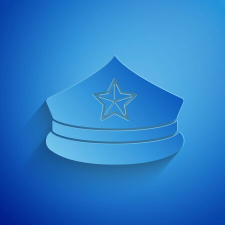 Paper cut Police cap with cockade icon isolated on blue background. Police hat sign. Paper art style. Vector Illustration