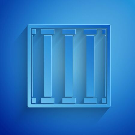 Paper cut Prison window icon isolated on blue background. Paper art style. Vector Illustration