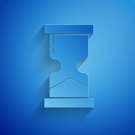Paper cut Old hourglass with flowing sand icon isolated on blue background. Sand clock sign. Business and time management concept. Paper art style. Vector Illustration