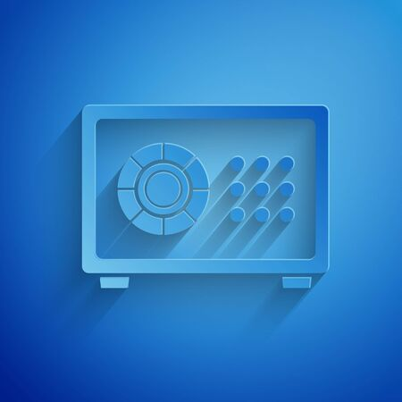 Paper cut Safe icon isolated on blue background. The door safe a bank vault with a combination lock. Reliable Data Protection. Paper art style. Vector Illustration