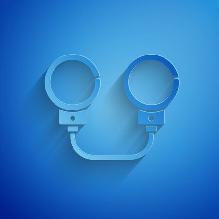 Paper cut Handcuffs icon isolated on blue background. Paper art style. Vector Illustration