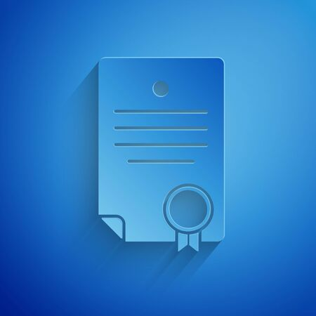 Paper cut Certificate template icon isolated on blue background. Achievement, award, degree, grant, diploma. Business success certificate. Paper art style. Vector Illustration Zdjęcie Seryjne - 134852625