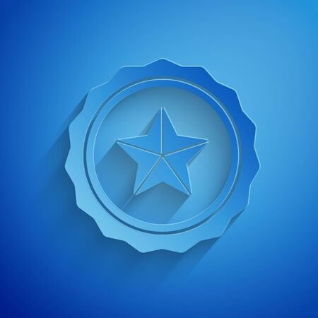 Paper cut Police badge icon isolated on blue background. Sheriff badge sign. Paper art style. Vector Illustration  イラスト・ベクター素材