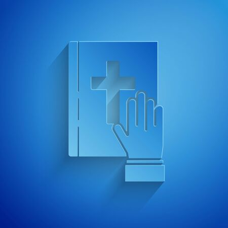Paper cut Oath on the Holy Bible icon isolated on blue background. The procedure in court. Truth and truth. Promise before god. Paper art style. Vector Illustration
