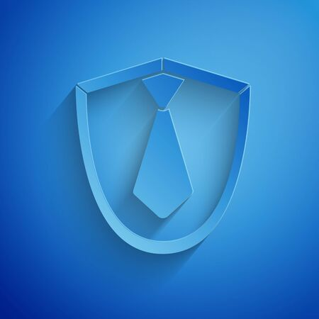 Paper cut Tie icon isolated on blue background. Necktie and neckcloth symbol. Paper art style. Vector Illustration