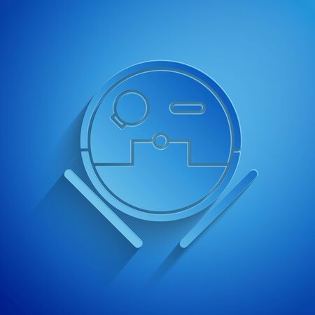 Paper cut Robot vacuum cleaner icon isolated on blue background. Home smart appliance for automatic vacuuming, digital device for house cleaning. Paper art style. Vector Illustration
