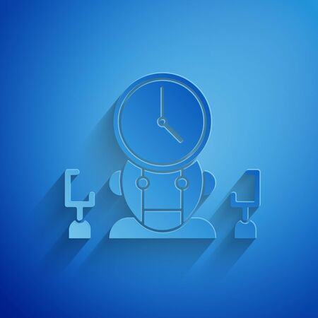 Paper cut Robot and digital time manager icon isolated on blue background. Time management assistance, workflow optimization help. Paper art style. Vector Illustration
