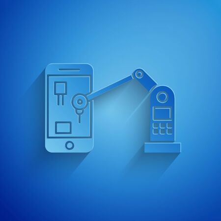Paper cut Industrial machine robotic robot arm hand on mobile phone factory icon isolated on blue background. Industrial robot manipulator. Paper art style. Vector Illustration