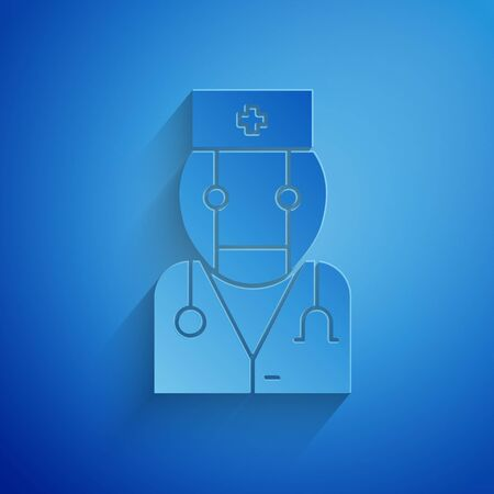 Paper cut Robot doctor icon isolated on blue background. Medical online consultation robotic silhouette artificial intelligence. Paper art style. Vector Illustration