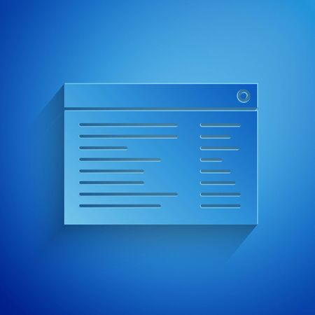 Paper cut Software, web developer programming code icon isolated on blue background. Javascript computer script random parts of program code. Paper art style. Vector Illustration