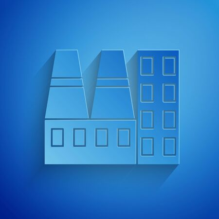 Paper cut Power station plant and factory icon isolated on blue background. Energy industrial concept. Paper art style. Vector Illustration