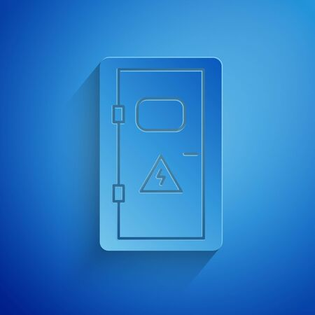 Paper cut Electrical cabinet icon isolated on blue background. Paper art style. Vector Illustration Vettoriali