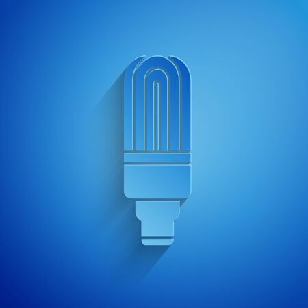 Paper cut LED light bulb icon isolated on blue background. Economical LED illuminated light bulb. Save energy lamp. Paper art style.