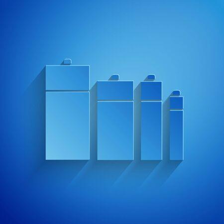 Paper cut Battery icon isolated on blue background. Lightning bolt symbol. Paper art style. Vector Illustration Ilustração