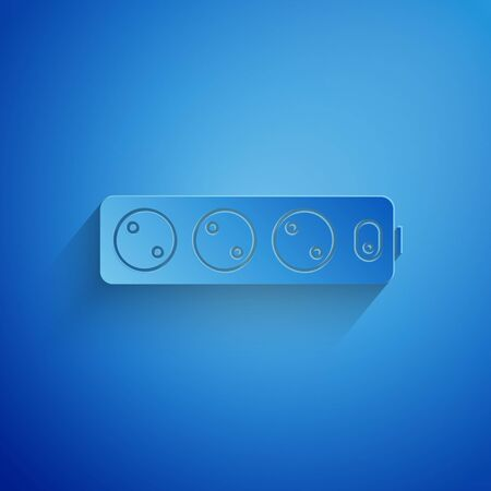 Paper cut Electric extension cord icon isolated on blue background. Power plug socket. Paper art style. Vector Illustration