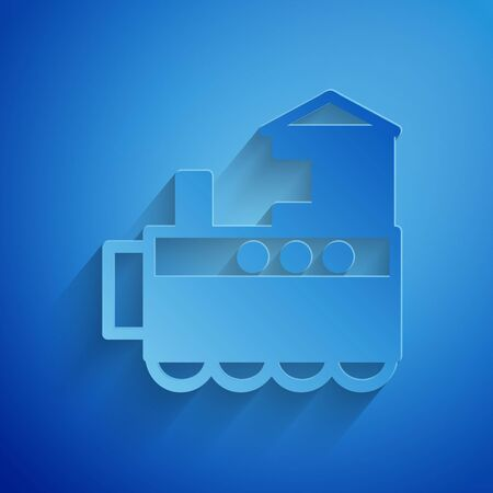 Paper cut Toy train icon isolated on blue background. Paper art style. Vector Illustration