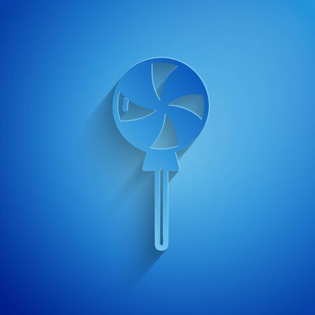 Paper cut Lollipop icon isolated on blue background. Candy sign. Food, delicious symbol. Paper art style. Vector Illustration