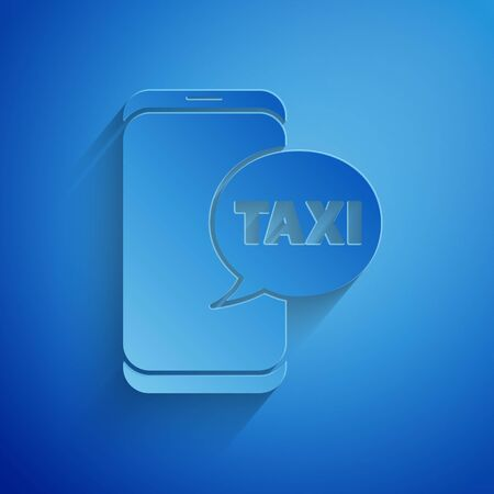Paper cut Taxi call telephone service icon isolated on blue background. Taxi for smartphone. Paper art style. 向量圖像