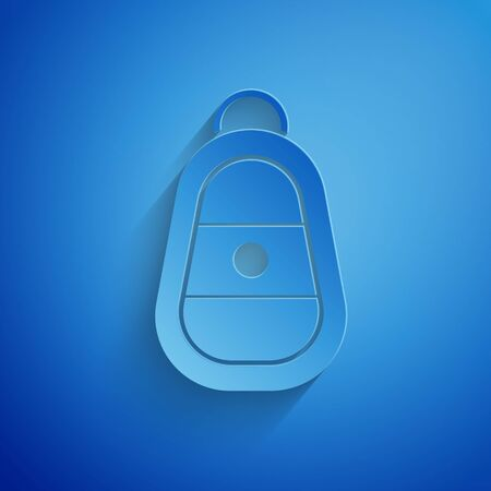 Paper cut Car key with remote icon isolated on blue background. Car key and alarm system. Paper art style.