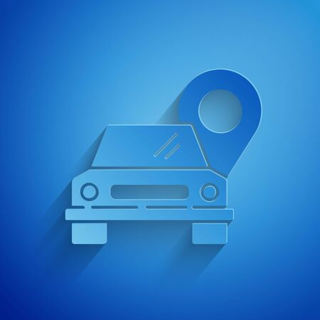 Paper cut Map pointer with taxi icon isolated on blue background. Location symbol. Paper art style 向量圖像