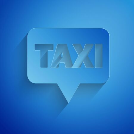 Paper cut Map pointer with taxi icon isolated on blue background. Location symbol. Paper art style.