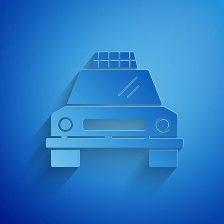 Paper cut Taxi car icon isolated on blue background. Paper art style.