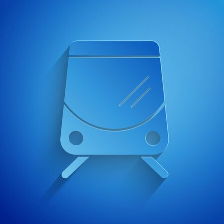 Paper cut Tram and railway icon isolated on blue background. Public transportation symbol. Paper art style. Vector Illustration 向量圖像