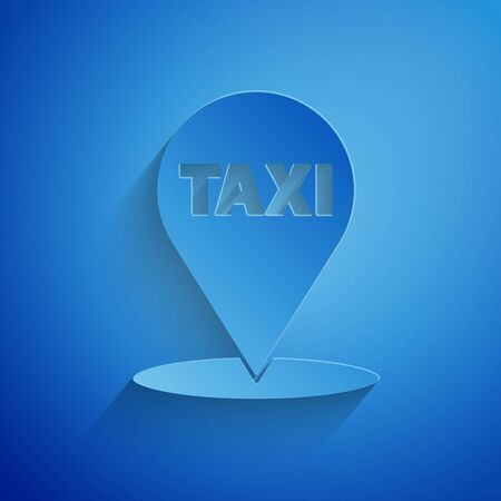 Paper cut Map pointer with taxi icon isolated on blue background. Location symbol. Paper art style. Vector Illustration