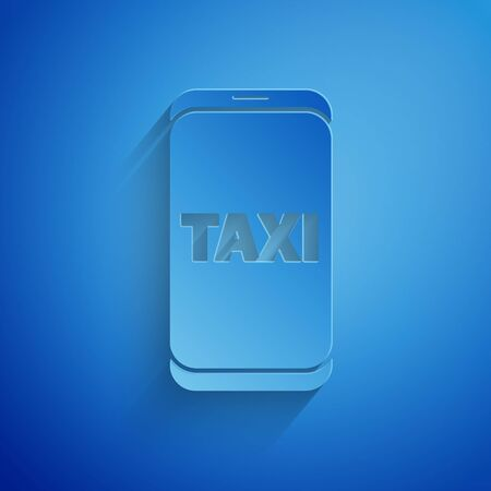 Paper cut Taxi call telephone service icon isolated on blue background. Taxi for smartphone. Paper art style. Vector Illustration