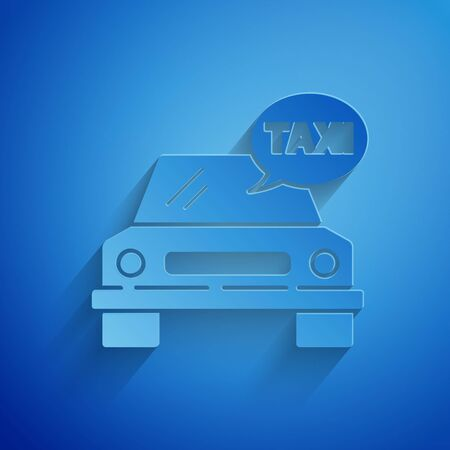 Paper cut Taxi car icon isolated on blue background. Paper art style. Vector Illustration