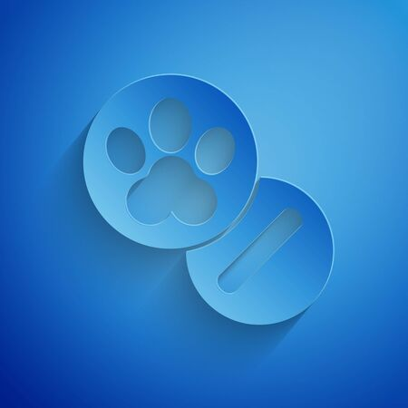 Paper cut Dog and pills icon isolated on blue background. Prescription medicine for animal. Paper art style. Vector Illustration Illustration