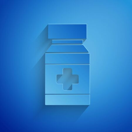 Paper cut Dog medicine bottle and pills icon isolated on blue background. Container with pills. Prescription medicine for animal. Paper art style. Vector Illustration Stock Vector - 134854288