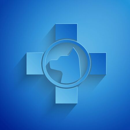 Paper cut Veterinary clinic symbol icon isolated on blue background. Cross with dog veterinary care. Pet First Aid sign. Paper art style. Vector Illustration