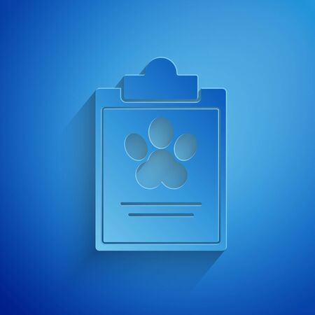 Paper cut Clipboard with medical clinical record pet icon isolated on blue background. Health insurance form. Medical check marks report. Paper art style. Vector Illustration Stock Vector - 134854494