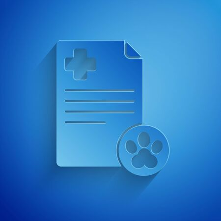 Paper cut Clipboard with medical clinical record pet icon isolated on blue background. Health insurance form. Medical check marks report. Paper art style. Vector Illustration