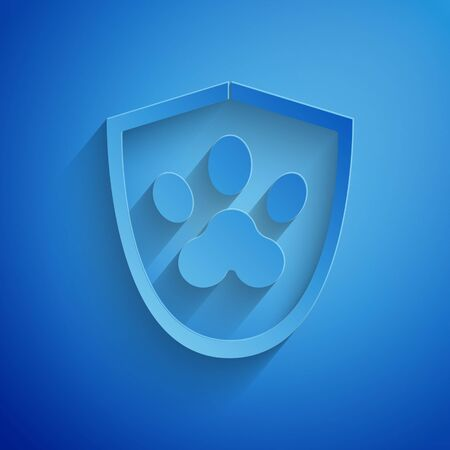Paper cut Animal health insurance icon isolated on blue background. Pet protection icon. Dog or cat paw print. Paper art style. Vector Illustration