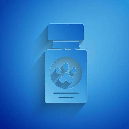 Paper cut Dog medicine bottle and pills icon isolated on blue background. Container with pills. Prescription medicine for animal. Paper art style. Vector Illustration