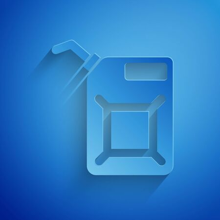 Paper cut Canister for gasoline icon isolated on blue background. Diesel gas icon. Paper art style. Vector Illustration