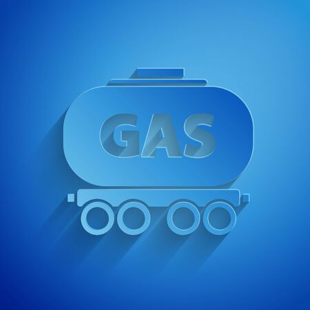 Paper cut Gas railway cistern icon isolated on blue background. Train gasoline tank on railway car. Rail freight. Paper art style. Vector Illustration