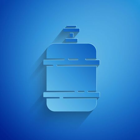 Paper cut Propane gas tank icon isolated on blue background. Flammable gas tank icon. Paper art style. Vector Illustration Illusztráció