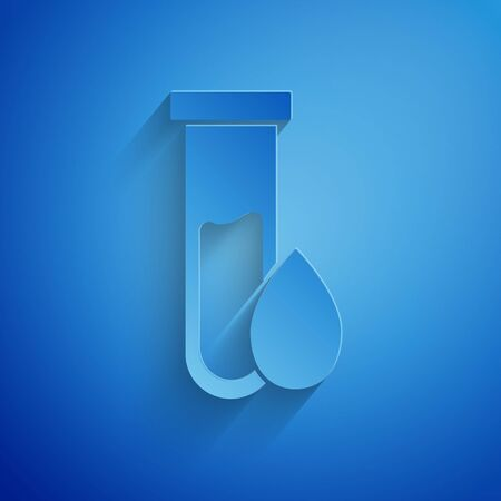 Paper cut Oil petrol test tube icon isolated on blue background. Paper art style. Vector Illustration