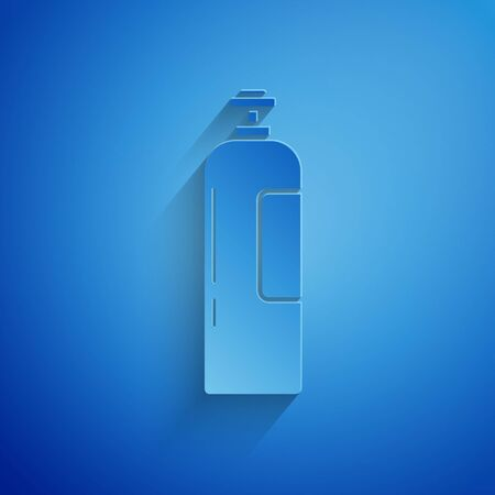 Paper cut Industrial gas cylinder tank for all inert and mixed inert gases icon isolated on blue background. Paper art style. Vector Illustration Illusztráció