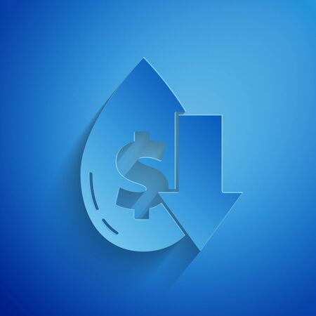 Paper cut Drop in crude oil price icon isolated on blue background. Oil industry crisis concept. Paper art style.
