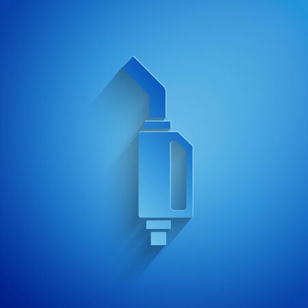 Paper cut Gasoline pump nozzle icon isolated on blue background. Fuel pump petrol station. Refuel service sign. Gas station icon. Paper art style. Vector Illustration