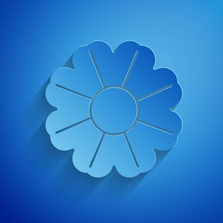 Paper cut Flower icon isolated on blue background. Paper art style. Vector Illustration Standard-Bild - 134855723