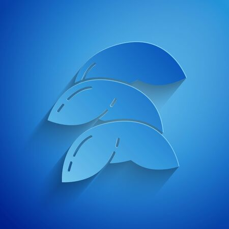 Paper cut Chinese fortune cookie icon isolated on blue background. Asian traditional. Paper art style. Vector Illustration